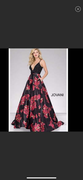 Jovani Red Size 6 Floral Ball gown on Queenly