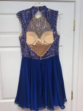 Sherri Hill Blue Size 14 Plus Size Homecoming Backless Cocktail Dress on Queenly
