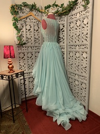 Mac Duggal Blue Size 4 Prom Ruffles High Low Mermaid Dress on Queenly