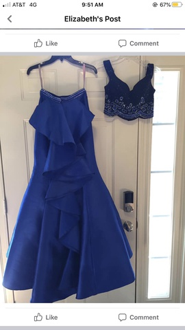 Blush Royal Blue Size 4 Prom Mermaid Dress on Queenly