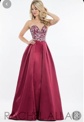 Queenly size 8 Rachel Allan Red A-line evening gown/formal dress