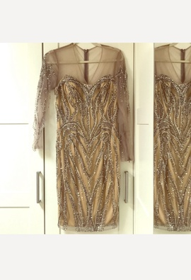 Terani Couture Gold Size 4 Jewelled Sequin Cocktail Dress on Queenly