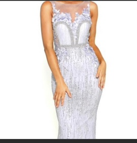 Queenly size 6 Portia and Scarlett Blue Mermaid evening gown/formal dress