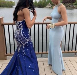 Rachel Allan Blue Size 4 Strapless Mermaid Dress on Queenly