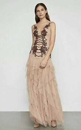BCBG Nude Size 12 Lace Floral Ball gown on Queenly