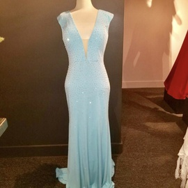 Queenly size 14 Jovani Blue A-line evening gown/formal dress