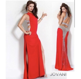 Jovani Red Size 10 Jersey A-line Dress on Queenly