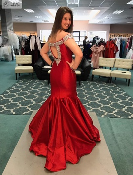 Ritzee Red Size 4 Pageant Mermaid Dress on Queenly