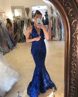 Queenly size 0 Angela & Alison Blue Straight evening gown/formal dress