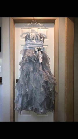 Queenly size 2  Silver Ball gown evening gown/formal dress