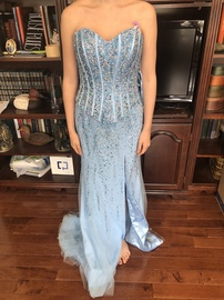Queenly size 8  Blue Straight evening gown/formal dress