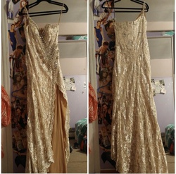 Terani Couture Nude Size 6 Side slit Dress on Queenly