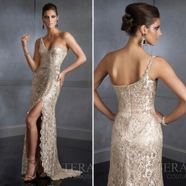 Queenly size 6 Terani Couture Nude Side slit evening gown/formal dress