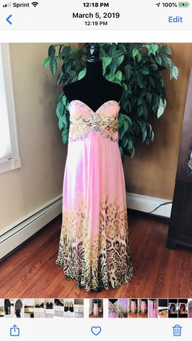 Tony Bowls Pink Size 14 Strapless Print Plus Size A-line Dress on Queenly