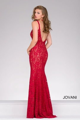 Jovani Red Size 6 Lace Mermaid Dress on Queenly