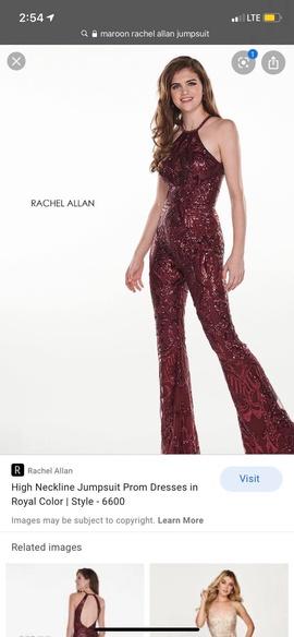Queenly size 2 Rachel Allan Red Romper/Jumpsuit evening gown/formal dress