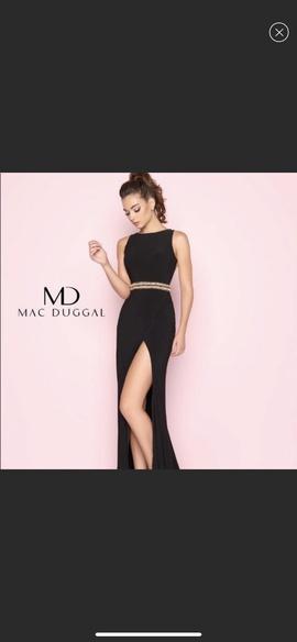 Mac Duggal Black Size 0 Belt Side slit Dress on Queenly