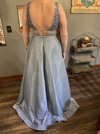 Mori Lee Blue Size 12 Shiny Plus Size Pockets Ball gown on Queenly