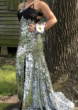 Silver Size 8 Ball gown on Queenly
