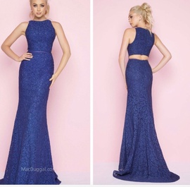 Mac Duggal Blue Size 4 Flare Train Lace Mermaid Dress on Queenly