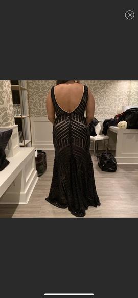 Jovani Black Size 12 Backless Train Sheer Mermaid Dress on Queenly