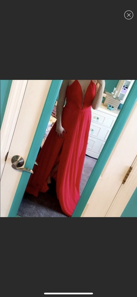Faviana Red Size 6 Side slit Dress on Queenly