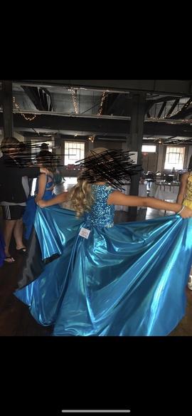 Custom Blue Size 8 Train Dress on Queenly