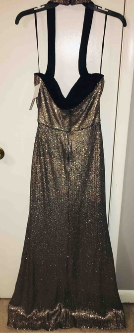 Xscape Gold Size 8 Halter Sequin Cocktail Dress on Queenly