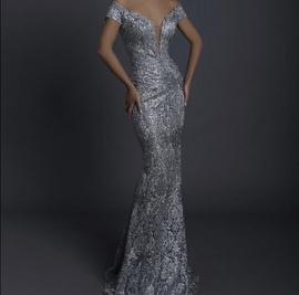 Queenly size 6 Tarik Ediz Silver Mermaid evening gown/formal dress
