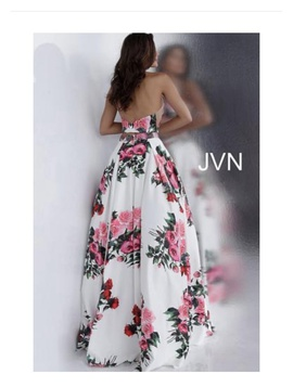 Jovani Multicolor Size 2 Red Floral A-line Dress on Queenly