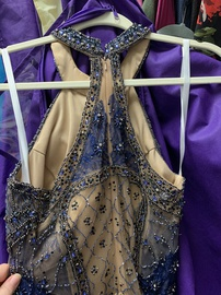 Terani Couture Blue Size 4 Halter A-line Dress on Queenly