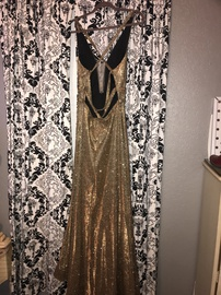 Colors Gold Size 12 Prom Pockets Side slit Dress on Queenly