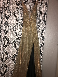 Queenly size 12 Colors Gold Side slit evening gown/formal dress