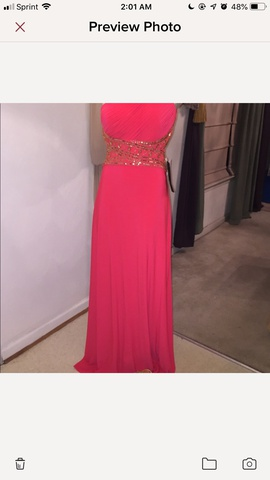 Betsy & Adam Pink Size 4 Coral One Shoulder Cut Out Ball gown on Queenly