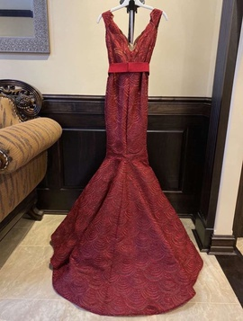 Tarik Ediz Red Size 0 Short Height Medium Height Plunge Mermaid Dress on Queenly