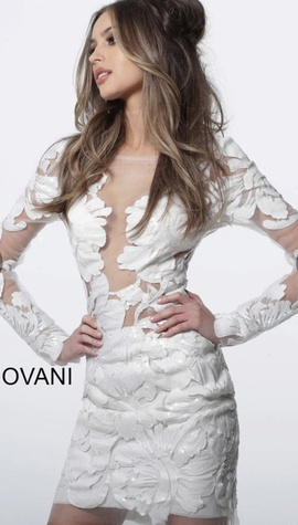 Queenly size 14 Jovani White Cocktail evening gown/formal dress