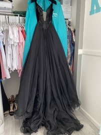 Sherri Hill Black Size 6 Overskirt V Neck Shiny Train Dress on Queenly