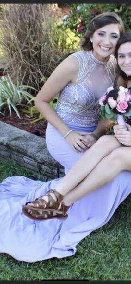 Rachel Allan Purple Size 4 Backless A-line Dress on Queenly