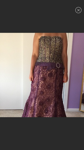 Michelle Couture Purple Size 16 Strapless Nude Plus Size Mermaid Dress on Queenly