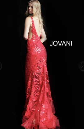 Jovani Red Size 4 Jewelled Sequin Fitted Mermaid Dress on Queenly