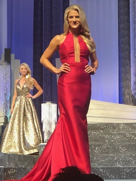 Queenly size 4 Fernando Wong Red Mermaid evening gown/formal dress