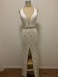 Jovani White Size 6 Side Slit Jewelled Sequin Straight Dress on Queenly