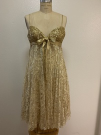 Jovani Gold Size 2 Sweetheart Strapless Cocktail Dress on Queenly