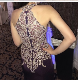 Jovani Purple Size 2 Halter Embroidery Ball gown on Queenly