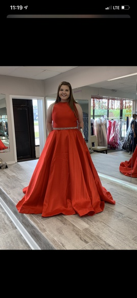 Queenly size 20 Mac Duggal Red A-line evening gown/formal dress