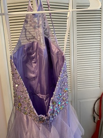 masquerade Purple Size 4 Sequin Halter A-line Dress on Queenly