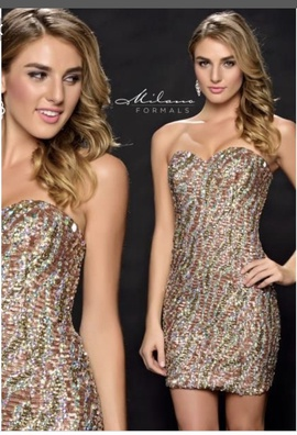 Queenly size 8 Milano Formals Gold Cocktail evening gown/formal dress