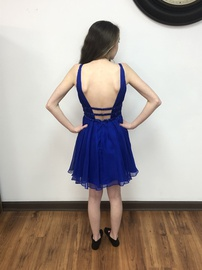 Rachel Allan Blue Size 0 Plunge Mini Cocktail Dress on Queenly