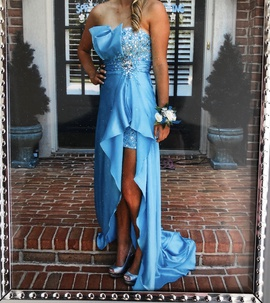 Tony Bowls Blue Size 4 High Low Jewelled Strapless Sequin Train Dress on Queenly