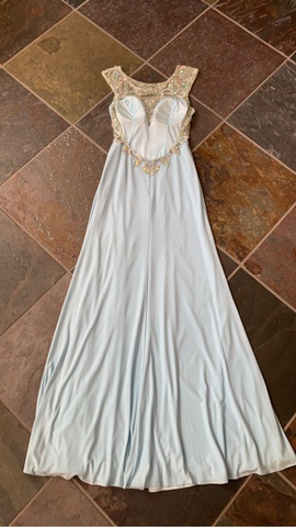 Tony Bowls Blue Size 2 Jersey Prom Side Slit Straight Dress on Queenly